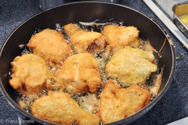 Hanukah Fried Chicken (frying)