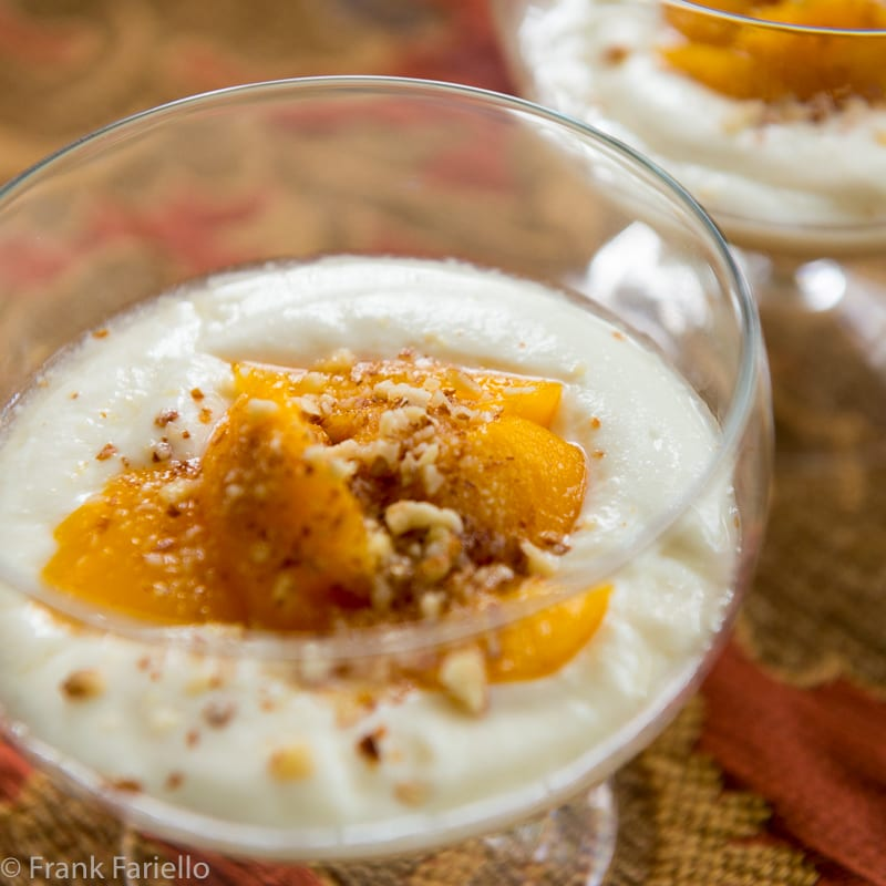 Spuma di ricotta alle pesche sciroppate (Whipped Ricotta with Peaches in Syrup)